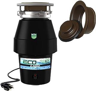 Eco Logic EL-10-DS-BK 10 设计师系列食品废弃物处理器,带黑色槽口,1-1/4 HP 油面青铜水槽法兰 1/2 Horsepower EL-7-DS-OR