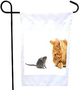 Rikki Knight 姜黄猫和鼠标房或花园旗,30.48 x 45.72 cm 旗帜尺寸带 27.94 x 27.94 cm 图像