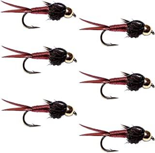 飞蝇钓放置珠头红色铜 John Nymph 飞蝇钓竿 - 6 只装鱼钩 尺寸 16