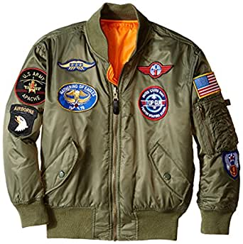 Alpha Industries Big Boys' MA-1 Bomber Jacket with Patches 灰绿色 4T
