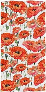 毛巾,美丽的红罂粟毛巾,适用于浴室、健身房、海滩和水疗