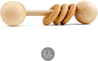 Heirloom 优质有机木材蒙特多里风格婴儿摇铃 Homi Baby - 适合幼儿的完美抓握磨牙玩具 - 美国手工制作 - 有机天然椰子油和蜂蜡 天然枫木