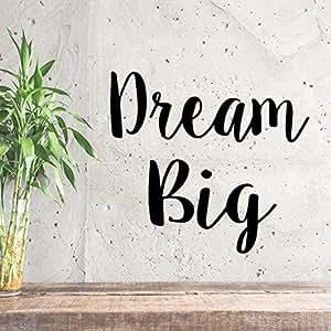 "Dream Big 励志语录 - 墙贴 - 53.34cm x 58.42cm 装饰乙烯基贴纸 - 卧室墙壁乙烯基贴纸 - 励志语录乙烯基装饰 - 客厅墙贴 黑色 21"" X 23"" Dream Big-Cursive"