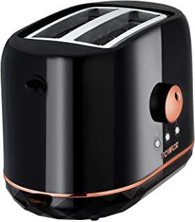 Tower T20028B 2 片烤面包机 可调节Browning 控制和烘烤时间 870 瓦 黑色和玫瑰金