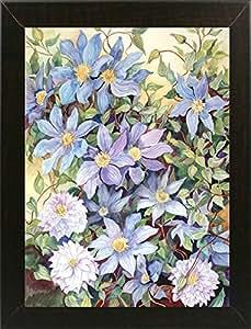 Frame USA Blue Clematis 镶框印刷品 62.23cm x 45.72cm Joanne Porter-JOAPOR40803,62.99x45.72cm 实惠巴西胡桃木 M 码