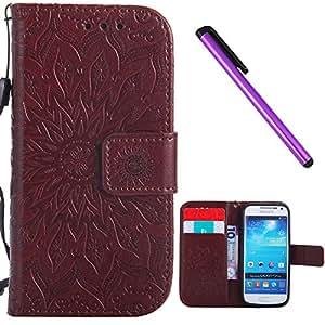 三星 Galaxy S4 Mini 手机壳 EMAXELER 时尚钱包式手机壳 钻石压花支架翻盖信用卡插槽现金袋 PU 皮保护套适用于三星 Galaxy S4 Mini Sun Brown