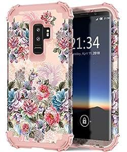 Galaxy S9 Plus 手机壳,Hocase 重型保护减震硅胶橡胶+硬质塑料混合双层保护壳适用于三星 Galaxy S9 Plus (SM-G965) 2018S9P-F03-RsGd Peony Flowers/Rose Gold