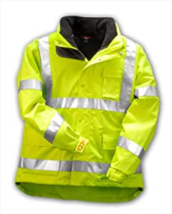 Icon 3.1 Black Fleece Jacket - 3 in 1 jacket multi-layer system - Attached Hood and removable Fluorescent and Silver Reflective Tape Flourescent Yellow/Green Size 4X
