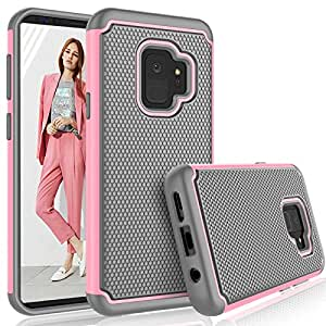 Galaxy S9 手机壳,三星 Galaxy S9 女孩手机壳,Tekcoo [Tmajor] 减震混合橡胶硅胶和塑料防刮结实的硬壳保护套,可爱坚固的硬壳 婴儿粉红色
