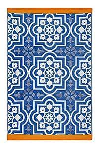 Fab Habitat 双面使用,室内/室外防风地板垫/地毯 - Puebla - 蓝色
