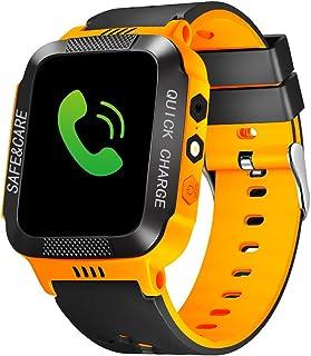 TOPCHANCES 儿童 GPS 智能手表跟踪手表带远程摄像头防水婴儿手表 SOS SIM 呼叫位置设备跟踪器 适用于儿童* 黑色 + 橙色