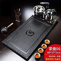 茶盘套装乌金石四合一电磁炉天然石材小茶台办公中式黑金石茶托盘 (06橡胶垫茶韵四合一茶盘)