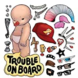 Oliver's Labels Baby on Board Trouble on Board 乙烯基车窗汽车贴花贴纸