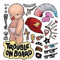 Oliver's Labels Baby on Board Trouble on Board 乙烯基车窗汽车贴花贴纸