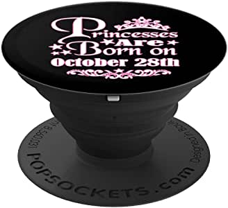 Princesses 生于 10 月 28 日公主女孩生日 PopSockets 手机和平板电脑握架260027  黑色