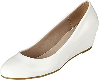 Forever Link 女式圆头一脚蹬 皮革低坡跟中跟高跟鞋凉鞋