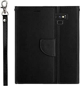 三星 Galaxy Note 9 [El Lumiere 钱包式手机壳] 多卡槽钱包式手机壳 [防摔] 优质皮革【支架功能】 A-black