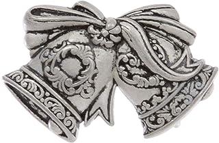 1 1/4 英寸 (32mm) 圣诞快乐铃铛丝带蝴蝶结雕刻穿孔皮带扣