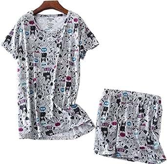 女式睡衣套装棉质印花短裤套装迷你睡衣 灰色狗 X-Large