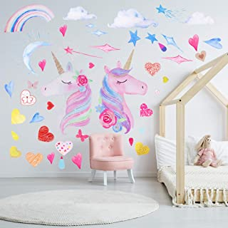 CEREALY 3 张独角兽墙壁装饰独角兽墙贴 DIY 贴纸带心形彩虹星星月亮 适用于Gilrs 儿童卧室托儿所圣诞节生日派对