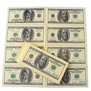 amazlab 印花 GAG prank 笑话派对餐巾: COPY 复古美元100美国 dollars 餐巾, banter 金钱餐巾 黄色 1包