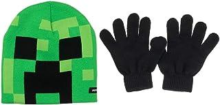 """""""我的世界""""爬行者脸儿童无檐小便帽帽和手套套装新*"""