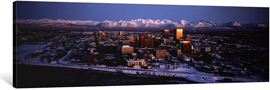 """iCanvasART Anchorage At The Base Of Chugach Mtns Ak USA Canvas Print by Panoramic Images, 48 by 16""""/1.5"""" Deep"""