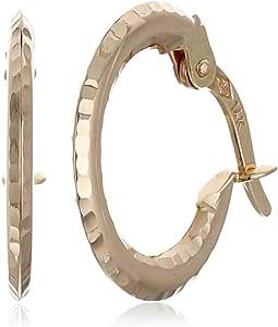 14k 玫瑰金钻石切割环状耳环