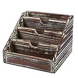 木制邮件收纳袋 - 4 个隔层小乡村风格木桌储物柜,垂直字母邮件分类器,天然木,6.68 x 5 x 6.6 英寸