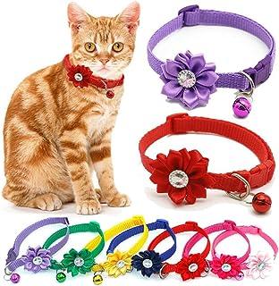 CHDHALTD 1 件猫花项圈,带铃铛的猫项圈,可调节狗猫项圈,适合小型猫犬的*项圈项链
