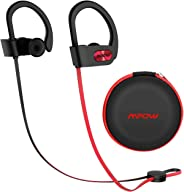 Mpow Flame [升级] 蓝牙耳机,IPX7 防水富士低音立体声无线运动耳塞,带麦克风,10~12H 电池降噪耳机用于跑步、慢跑、骑自行车、锻炼