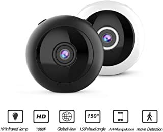 ICQUANZX HD 1080p WiFi 攝像頭,紅外夜視攝像頭,WiFi 紅外夜視微型相機無線 IP,家庭*,帶雙向音頻,3D 全景,云服務(黑色)