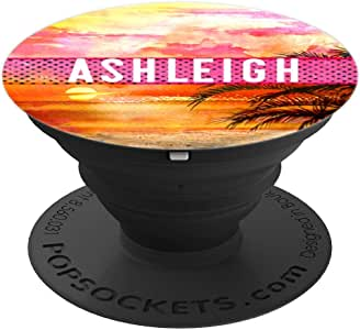 Ashleigh 名字交织字母日落海滩日出图案艺术礼物260027  黑色