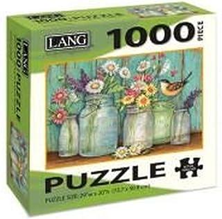 "LANG - 1000 片拼图 -""梅森花"",Susan Winget 艺术品 - 亚麻饰面 - 29"" x 20"" 完成"