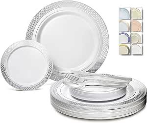 """"""" OCCASIONS"""" 600 件/120 个客人婚礼一次性塑料板和银色组合套装 Celebration White/Silver 600 pcs (120 guests)"""