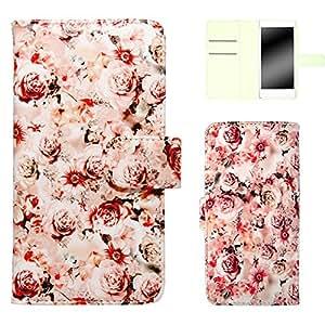 白色坚果玫瑰图案手机保护壳翻盖式 浅粉色 21_ ELUGA X P-02E