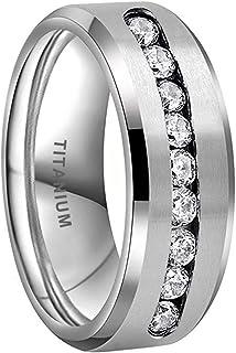 iTungsten 8 毫米钛戒指男女通用永恒婚礼订婚戒指白色/蓝色圆形方晶锆石镶嵌斜边哑光表面舒适贴合