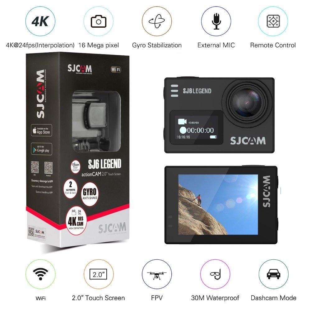 のorignal SJCAM SJ6 LEGENDデュアルLCD 2フィートタッチスクリーン2880×2160 NOVATEK NT966 60パナソニックMN34120PA CMOS 4KウルトラHD DVスポーツアクションカメラ黒+ 1、追加のバッテリー