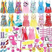 JANYUN 总共 114 件 - 16 件芭比娃娃派对礼服套装 + 98 件娃娃配饰鞋袋项链镜架餐具。