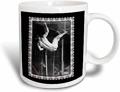 3drose BLN 复古照片历史和人1800–POLE vaulter vaulting OVER A 围栏 THE 裸色,1885taken BY eadweard muybridge–马克杯 黑色/白色 11 oz