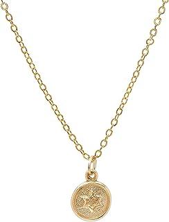 Pori Jewelers 14K 黄金小圆盘大卫星吊坠 14K 金链项链 -45.72 厘米