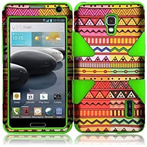 HR Wireless LG Optimus F6 Rubberized Design Protective Cover - Retail Packaging - Geometric Aztec