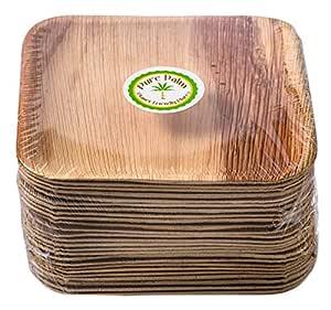 """纯棕榈环保板;高档一次性餐具;*、环保、可堆肥的餐具 天然 7"""" Square COMINHKPR123862"""