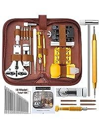 手表维修工具套件,Kingsdun *版 149 件手表电池替换表带链移除弹簧条工具套件,带手提箱和说明书