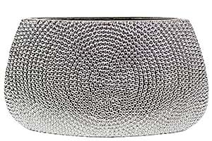 Urban Trends 陶瓷扁平花瓶串珠,大号,镀铬银