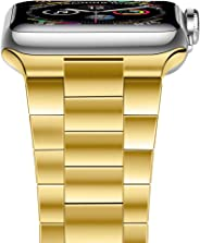 iiteeology 兼容苹果手表表带,*版实心不锈钢表带商务替换苹果手表腕带 5/4/3/2/1iiteeology4244gl  42mm/44mm Yellow Gold