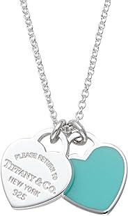 [蒂芙尼] TIFFANY 純銀/藍釉拋光 RTT 雙心形 吊牌 吊墜、項鏈(41cm) 【平行進口商品】 27125107