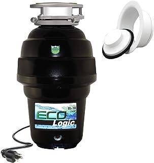 Eco Logic EL-10-DS-BK 10 设计师系列食品废弃物处理器,带黑色槽口,1-1/4 HP White Sink 法兰 1-1/4 Horsepower EL-10-DS-WH