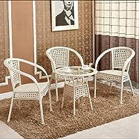京好 藤椅子茶几三件套五件套组合 现代简约环保高档办公阳台休闲户外家具E79 (白色款式, 一桌三椅)