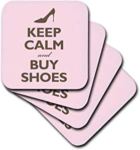 3dRose cst_159571_3 Keep Calm and Buy Shoes. Pink. Shopping. High Heels-Ceramic Tile Coasters, Set of 4